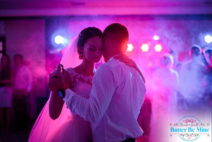 Creative colorful lighting for wedding reception and gala