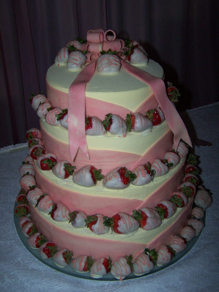 White and Pink Chocolate Strawberry Wedding Cake