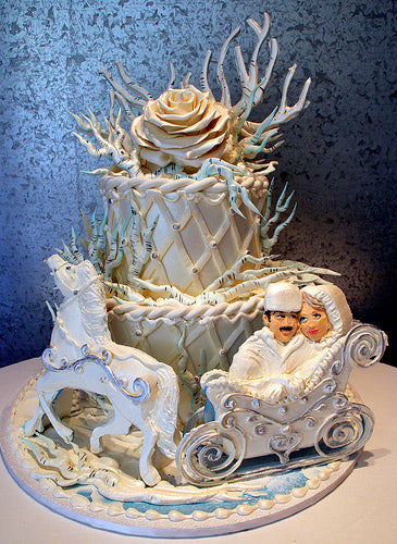 Cartoon style winter wedding cake with bride and groom.