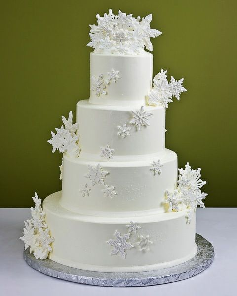 Winter Wedding Cake Idea with Silver Snowflakes