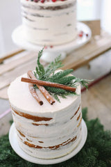 Rustic Winter Cake with Cinnamon Sticks and Pine