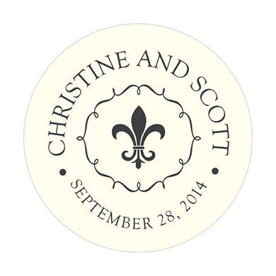 Fleur de Lis Sticker for French inspired wedding and party favors.