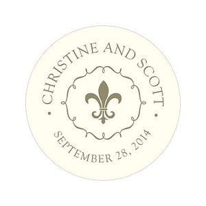 2 inch Diameter Fleur de Lis Sticker used for wedding or party favors, boxes or bags.