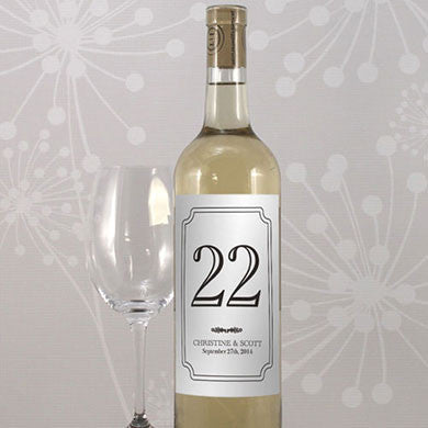 Classic Table Number Wine Label personalized with the bride and groom's name and the wedding date.