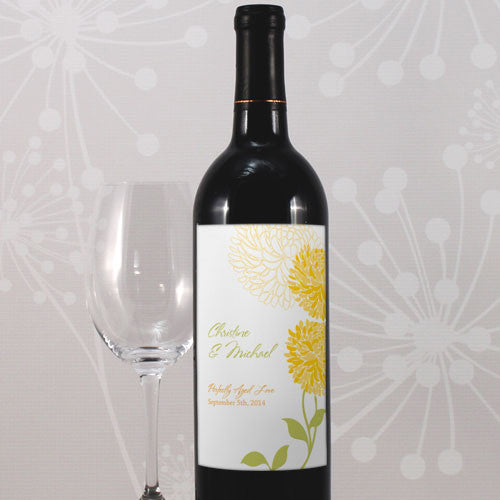 Saffron Yellow Zinnia Bloom Wine Label personalized with the bride and groom's name and wedding date.