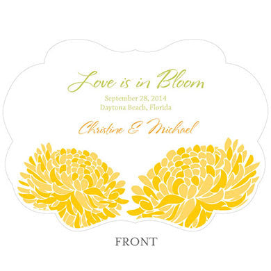Front of the Saffron Yellow Zinnia Bloom Hand Fan with personalized message, bride and groom's name and wedding date.