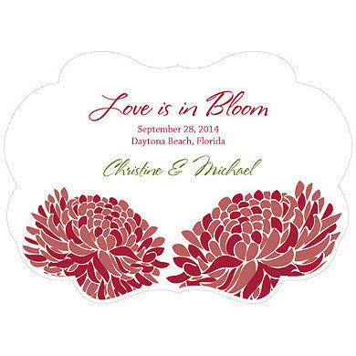 Ruby Red Zinnia Bloom Hand Fan with personalized message, bride and groom's name and wedding date.