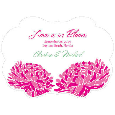 Fuchsia Zinnia Bloom Hand Fan with personalized message, bride and groom's name and wedding date.