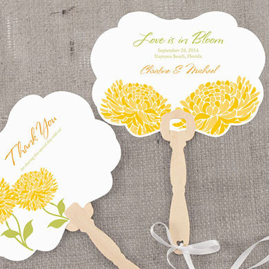 Saffron Yellow Zinnia Bloom Hand Fan with personalized message, bride and groom's name and wedding date.