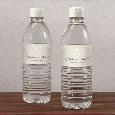 Vintage Lace Water Bottle Sticker Label personalized with bride and groom's name.