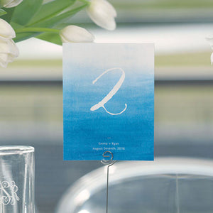 Caribbean Blue Aqueous Table Number