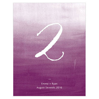 Bright Purple Aqueous Table Number Card