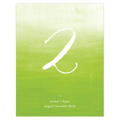 Candy Apple Green Aqueous Table Number Card