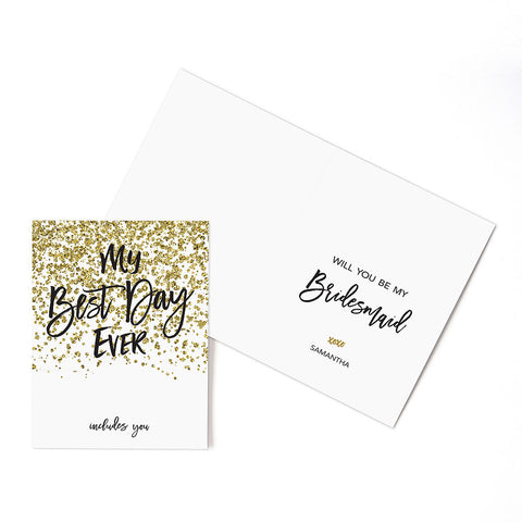 Gold Sparkle Thank You Card With Fold (Pack of 24)