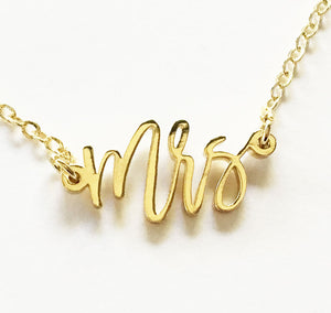 18K Gold Mrs Bride to Be Necklace