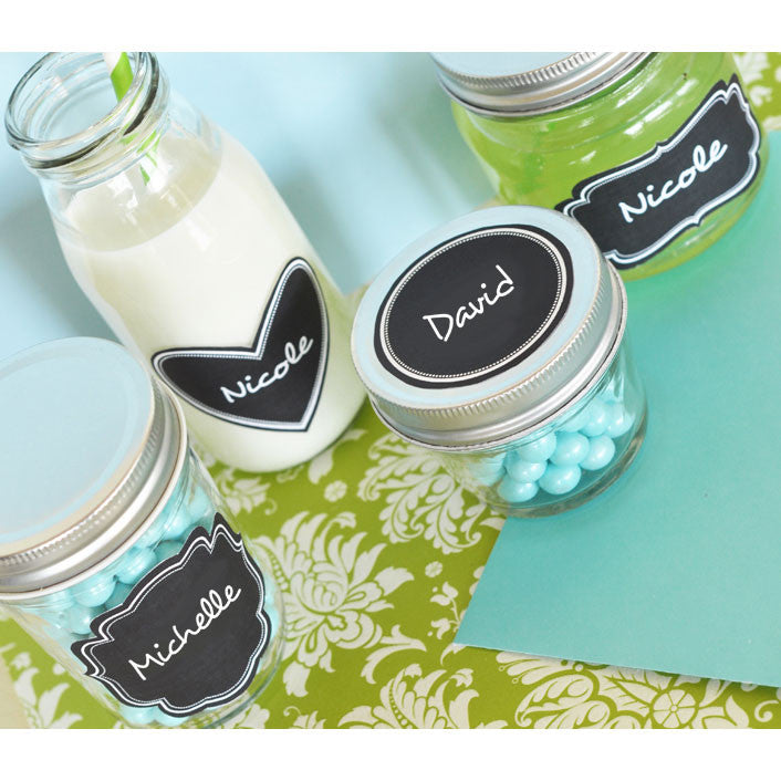 Vinyl Chalkboard Labels applied to party drinks and favors.