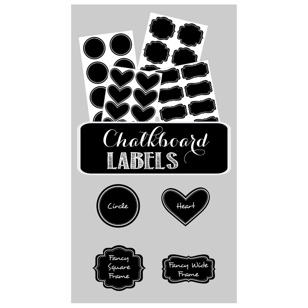 Different Vinyl Chalkboard Label Shapes Including Heart Circle And Decorative