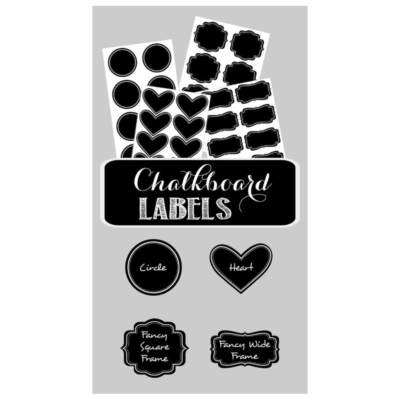 Different Vinyl Chalkboard Label shapes, including heart, circle and decorative shapes.