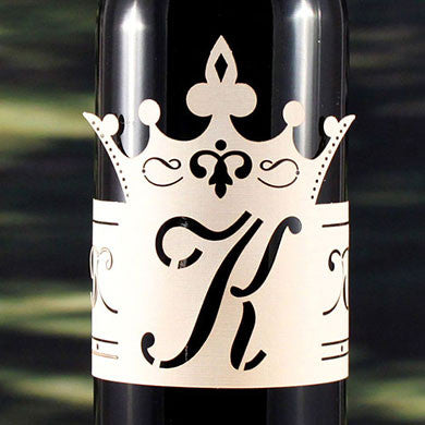 Laser Expressions Queen Crown Decorative Monogram Wine Bottle Wrap