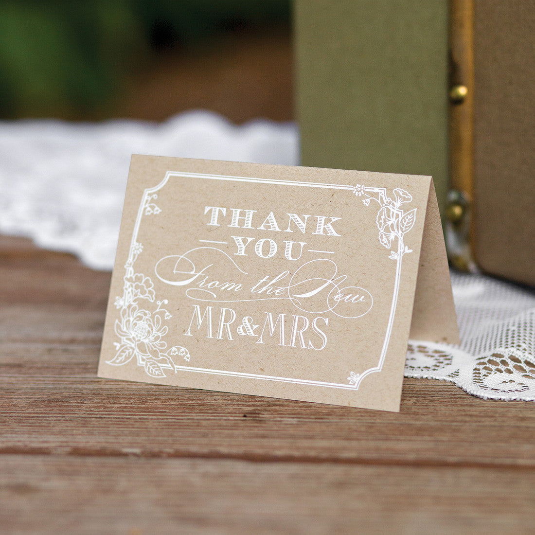 Rustic Chic Thank You Card Set – Candy Cake Weddings