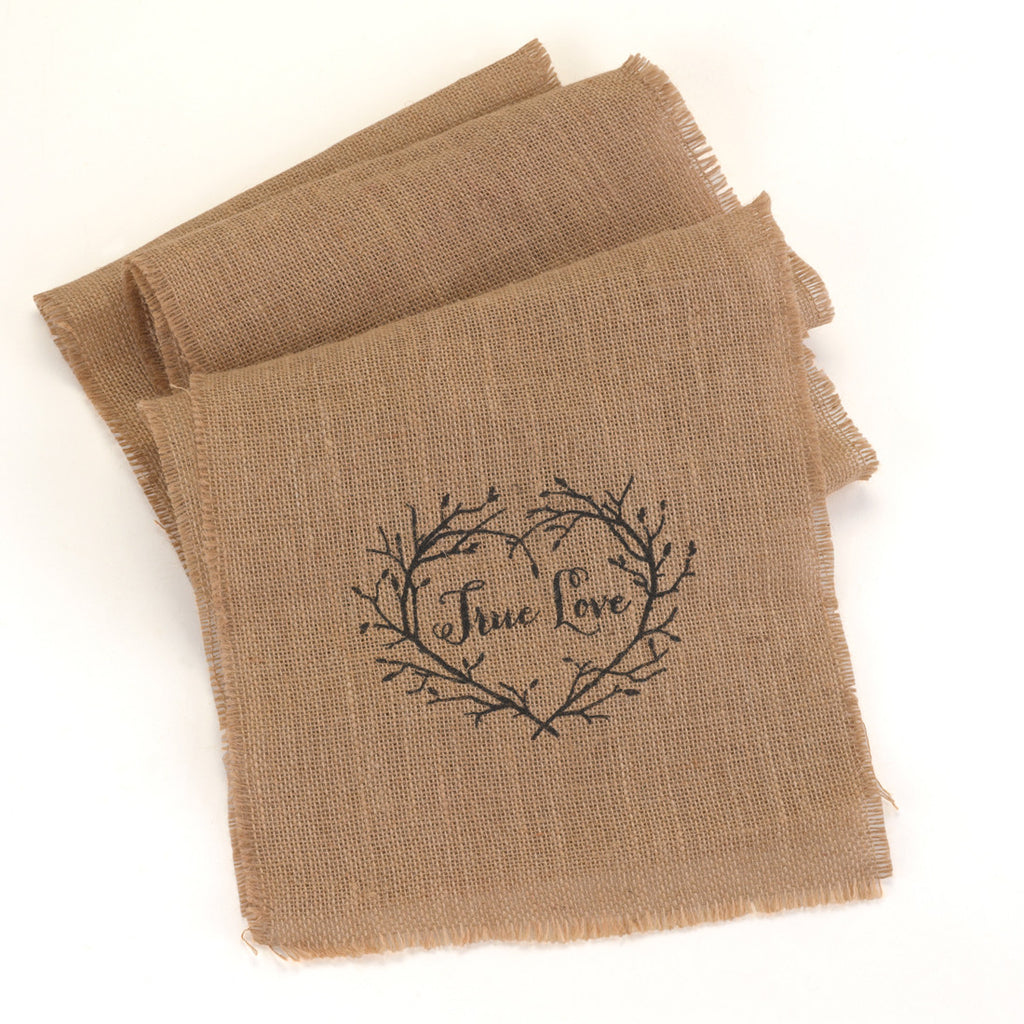 True Love Burlap Rustic Wedding Table Runner