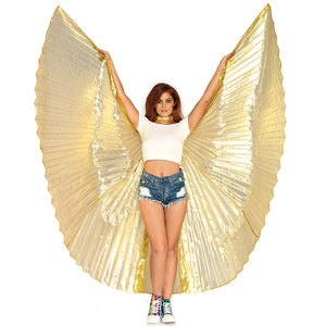 Gold 360 Degree Pleated Isis Party Festival Wings