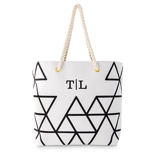 Personalized Black on White Geo Prism Tote Bag