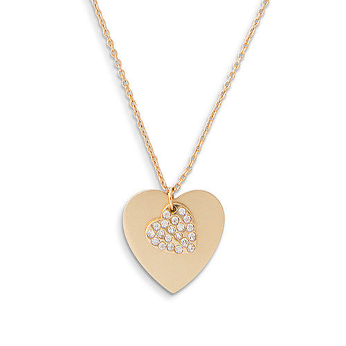 Crystal Double Swing Heart Necklace