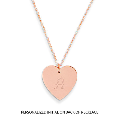 Crystal Double Swing Heart Necklace - Matte Rose Gold