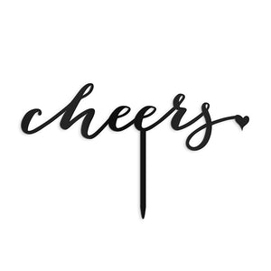 Script Cheers Acrylic Cake Topper - Black