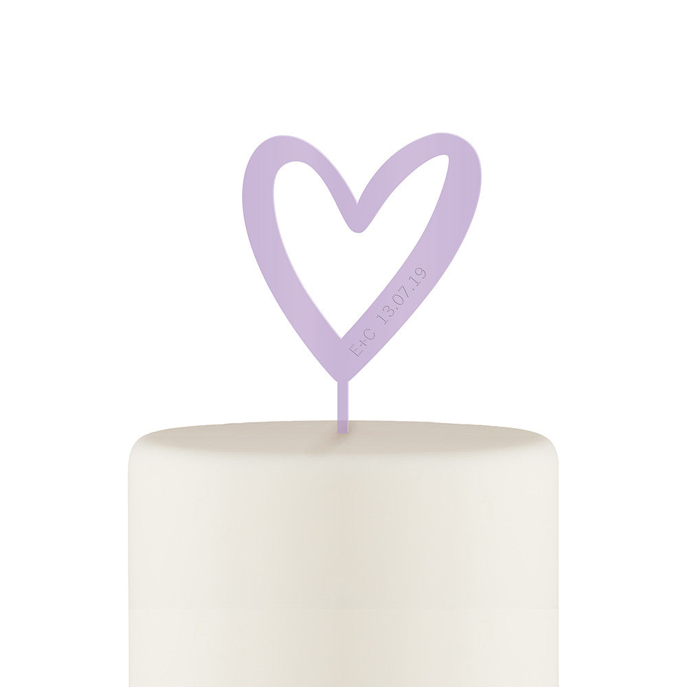 Personalized Mod Heart Acrylic Cake Topper - Lavender