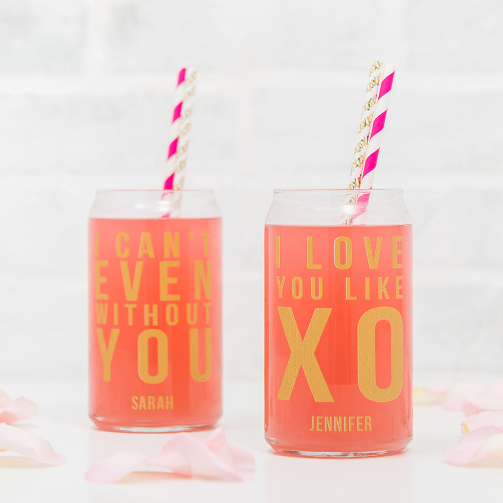 Can Shaped Glass Personalized - I Love You Like XO Printing Gold