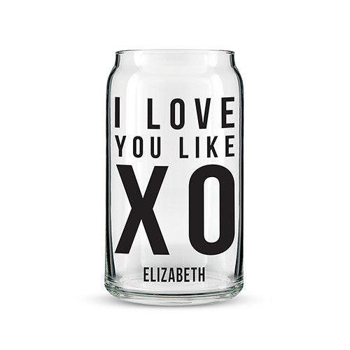 Can Shaped Glass Personalized - I Love You Like XO Printing Black