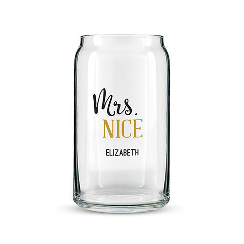 Can Shaped Glass Personalized - Mrs. Nice Script Font