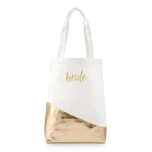 Large Canvas Tote Bag with Metallic Gold - Script Font