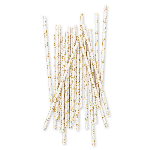 Gold Foil Hearts Paper Drinking Straws