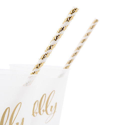 Gold Foil X&Os Paper Drinking Straws
