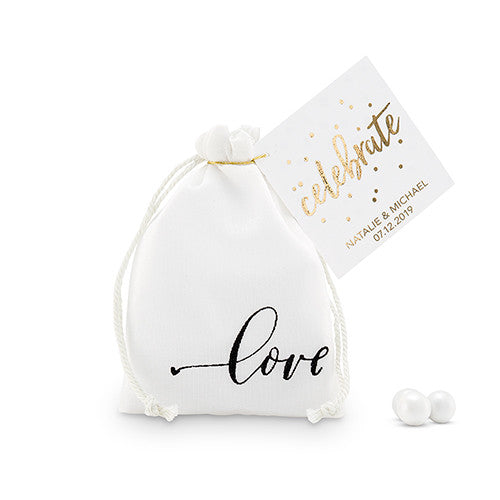 """love"" Print Muslin Drawstring Favor Bag"