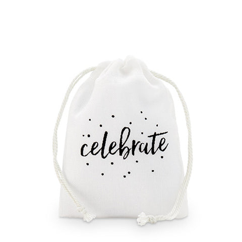 """celebrate"" Print Muslin Drawstring Favor Bag"