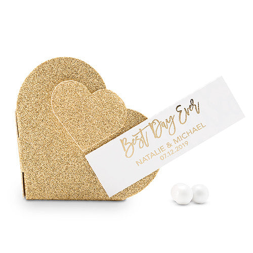 Gold Glitter Heart Favor Box