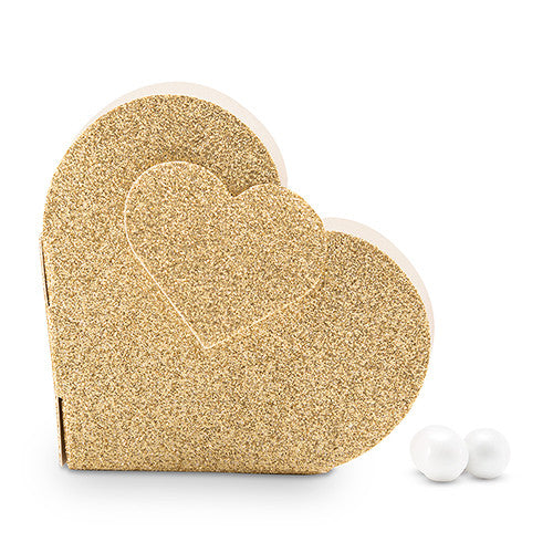 Gold Glitter Heart Wedding Party Favor Box (Pack of 10)