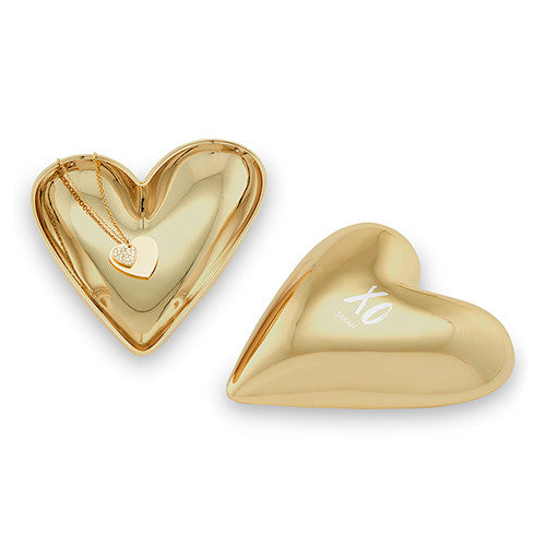 Gold Modern Heart Jewelry Box - XO with Line of Text Etching
