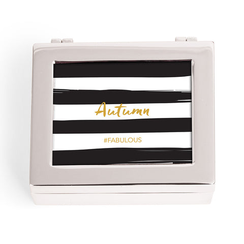 Personalized Black and White Striped Print Jewelry Box