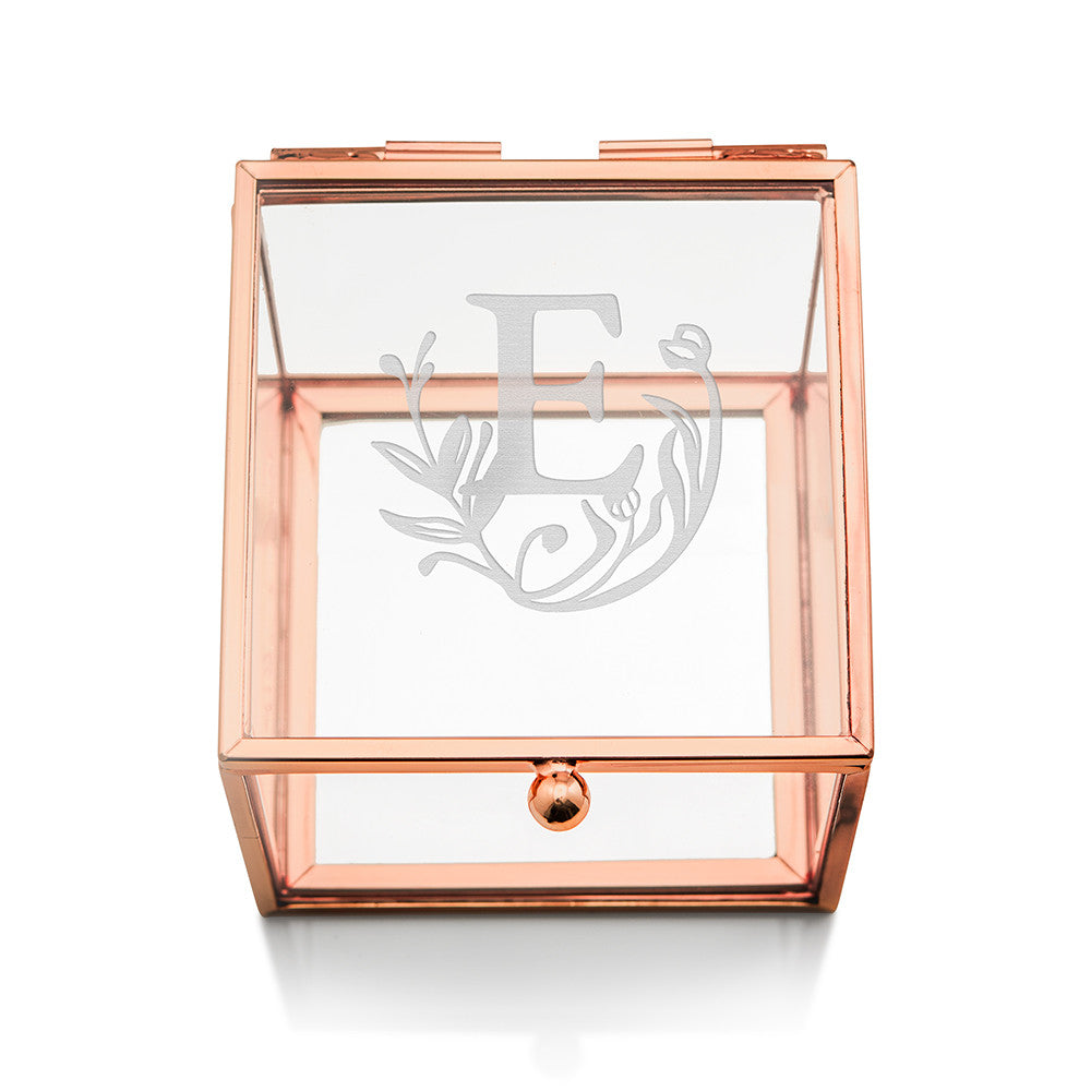 Small Glass Jewelry Box with Rose Gold - Modern Fairy Tale Etching