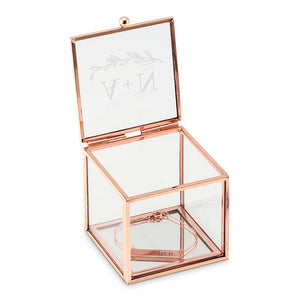 Small Glass Jewelry Box with Rose Gold - Garland Under Etching