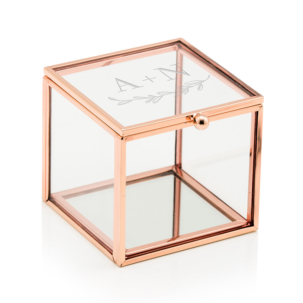 Garland and Initials Personalized Rose Gold and Glass Jewelry Box