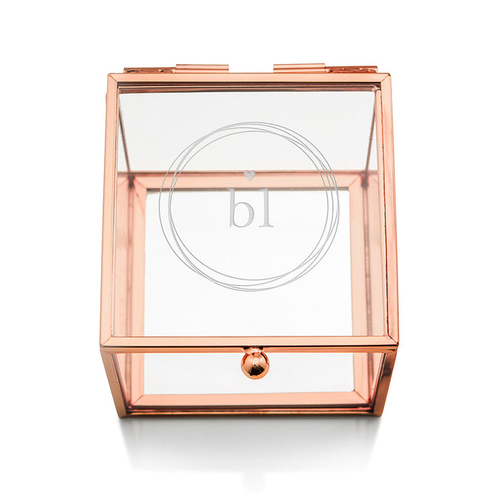 Monogrammed Personalized Rose Gold and Glass Jewelry Box