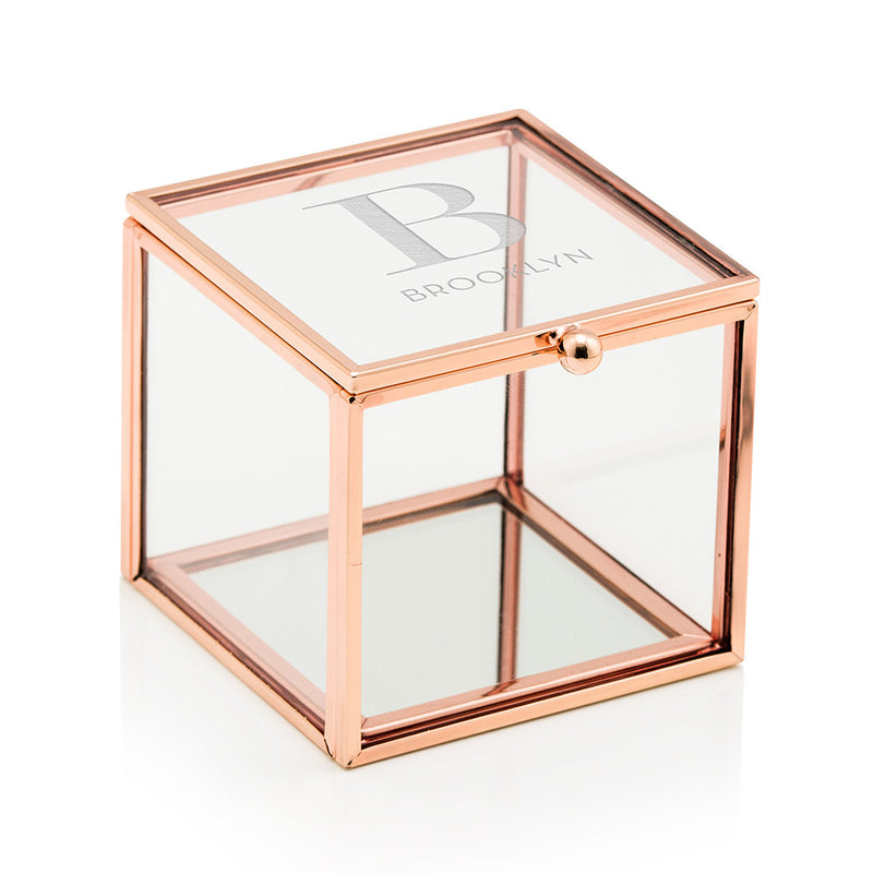 Small Glass Jewelry Box with Rose Gold - Modern Serif Initial Etching