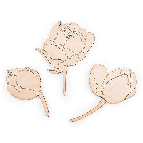 """Modern Bloom"" Cake Topper Set - Maple Laminate"
