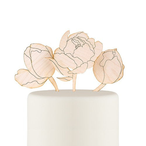 Maple Laminate Flower Wedding Cake Topper Set